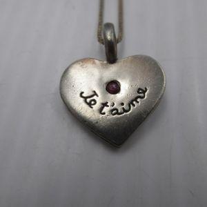 Sweet sterling heart pendant w/ Ruby center